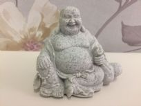 Small Granite Laughing Buddha Holding Bag